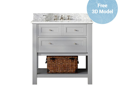 Pottery Barn Classic Single Vanity FREE 3D Model