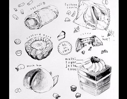 Food pencil sketches postcard