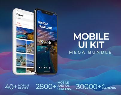 Mobile UI Kit Mega Bundle – 40+ UI Kits   2,800+ Screen