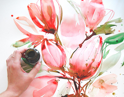 INK & WATERCOLOR / Floral and botanical illustration