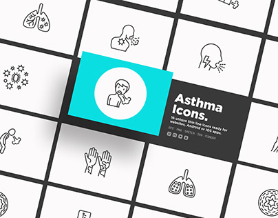 Asthma | 16 Thin Line Icons Set
