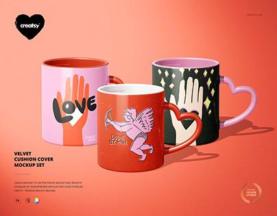 Heart Shaped Handle Mug Mockup Set