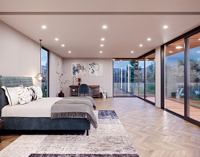 Visualization of a bedroom with Yawal sliding windows