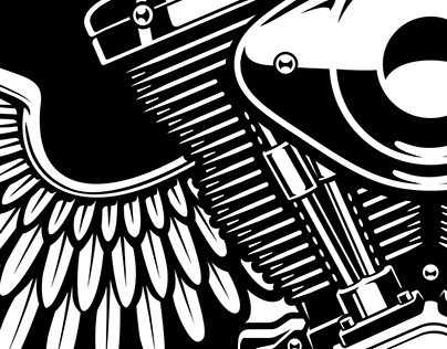 Collection of bikers illustrations № 1
