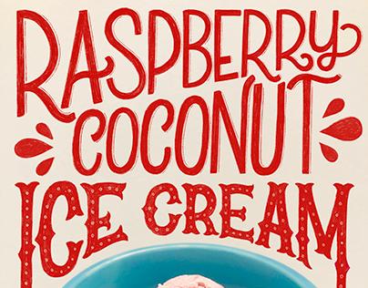 Raspberry Coconut Ice Cream | Hand Lettered Food Series