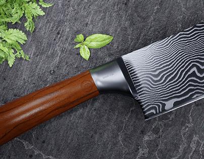 3D CGI Damascus Steel Knife Commercial