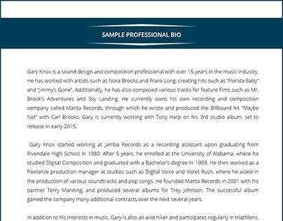Professional Bio Sample