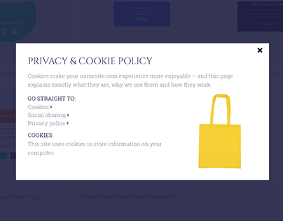 Shopper Cookie Policy Popup (Bounce Out)