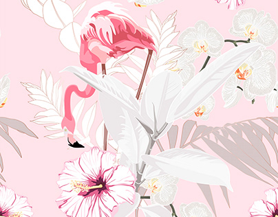Pink flamingo and exotic flowers, palm leaves.