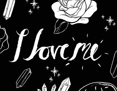"""""""I love meg"""" pattern design."""