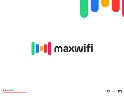 Maxwifi -Letter M and wifi icon combination logo