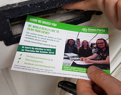 Haringey Green Party by-election '16 campaign material