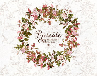 Roseate - watercolor clipart and patterns set