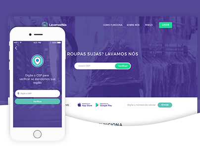 LavamosNós App + Landing page
