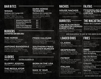 """""""The Dark Horse"""" Bar & Kitchen Menu"""