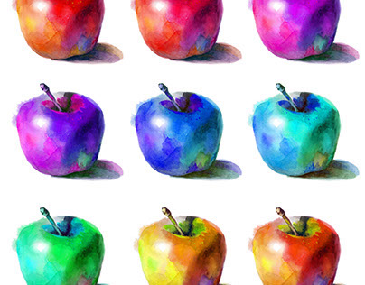 Watercolor rainbow apples