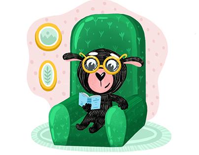 cute black sheep, illustration