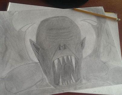 A Random Vampire Sketch Appears - #2 Pencil on Paper