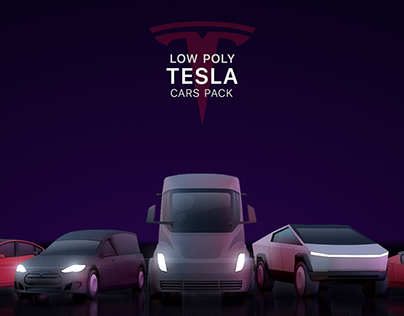 Cartoon Low Poly Tesla Cars Pack