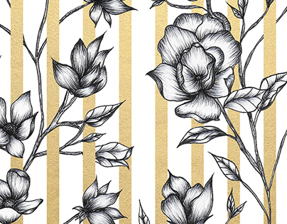 Flower Illustrations and Gold Foil