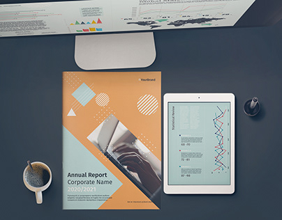 Annual Report Layout With Geometric Background
