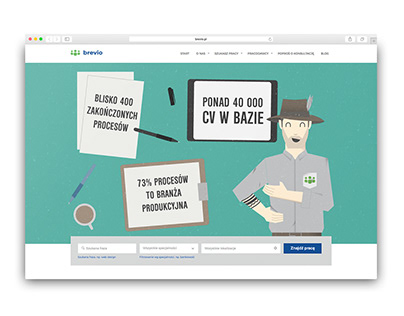 Brand character and website illustrations for Brevio HR