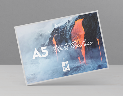 Bi-Fold A5 Horizontal Brochure Mock-Ups Vol.1