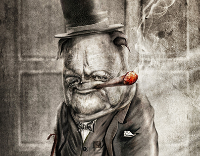 (British Bulldog) Winston Churchill - Caricature