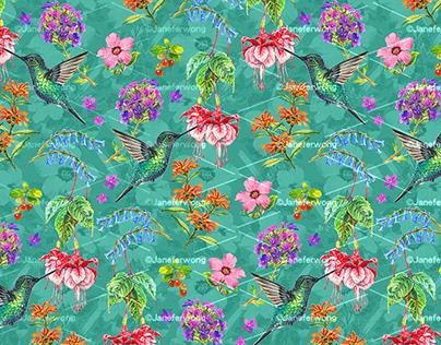 Tropical Hummingbirds Pattern Print