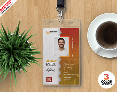 Abstract Design Photo ID Card PSD