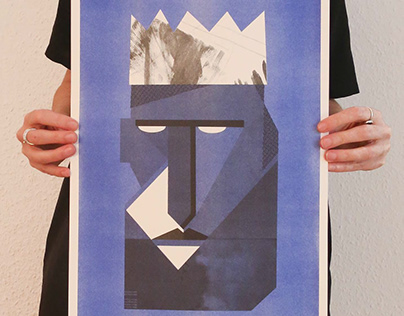 Blue King: risograph print