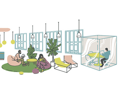 Editorial illustration. Office as a home
