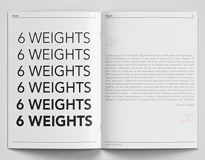 Avenir Type Specimen - Publishing Design