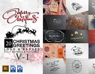 Christmas Greetings Logo & Badges V-1