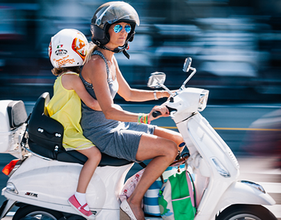 Europeans on scooters