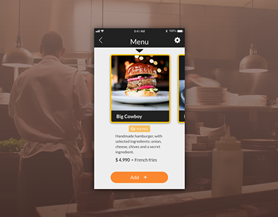 App for hamburger restaurant