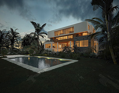 Luxury villa in Kuwait-city, interior and exterior 3D