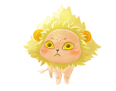 Funny cat in a lion's mane