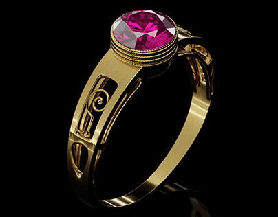 Gold Ring with Ruby -Black background edition