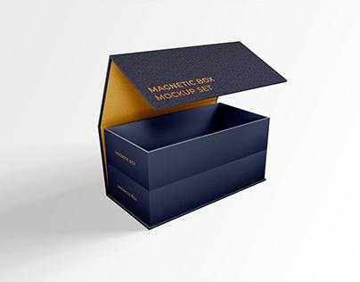 (1 Free) Foldable Magnetic Box Mockup Set