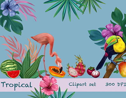 Tropical clipart set for Etsy shop