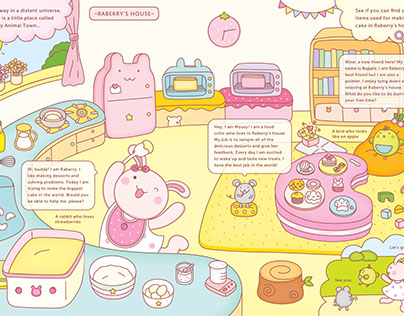 Happy Animal Town - Making a Giant Cake, Page 1~2
