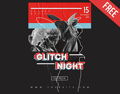 FREE GLITCH NIGHT FLYER TEMPLATE IN PSD