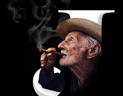 Letter 'J' concept design - Old man smoking cigar