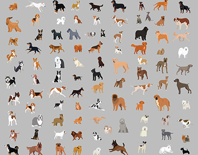 100 dogs in vector