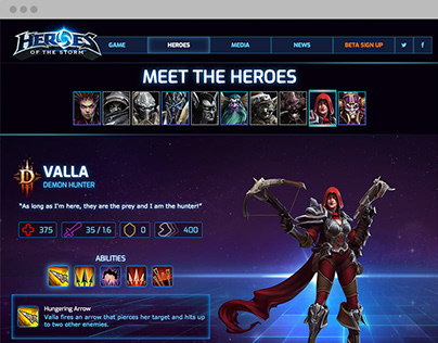 Heroes of the Storm, Web Mockup