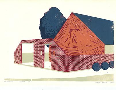Verbouwing - linocut print