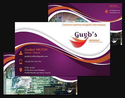 Carte de visite réalisée pour GUYBS