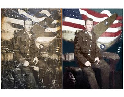 Restoration/colorisation of a World War II photograph