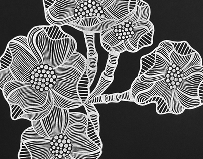 'Beautiful Things Black' Linoprint